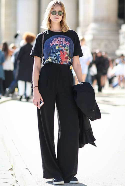 Cute Lazy Day Wide Legged Pants Outfits
