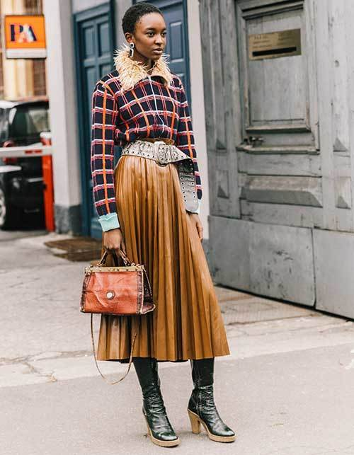 New York Plaid Skirt Street Style Outfits