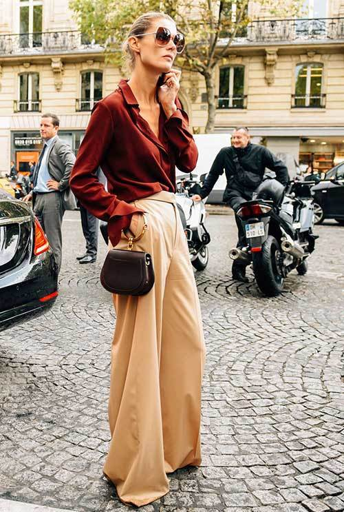 New York Wide Legged Pants Street Style Outfits