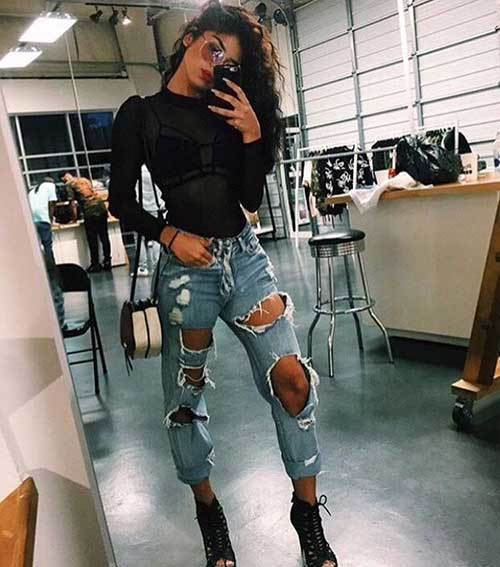 Denim Ripped Jeans Concert Outfit
