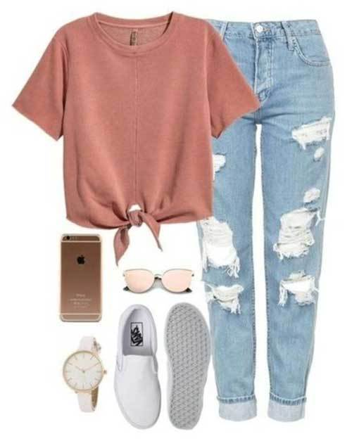 Denim Ripped Jeans Cute Outfit