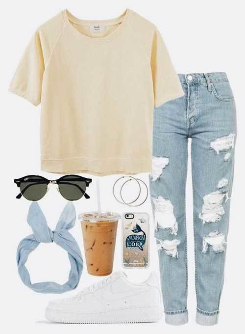 Denim Ripped Jeans Easy Outfit