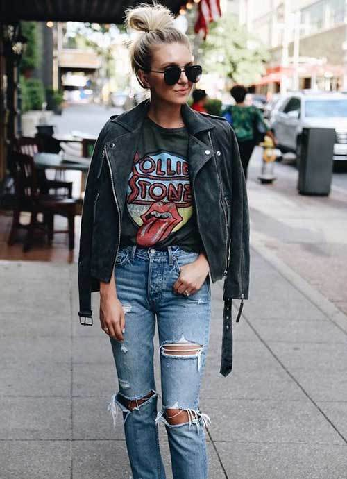 Denim Ripped Jeans Fall Outfit