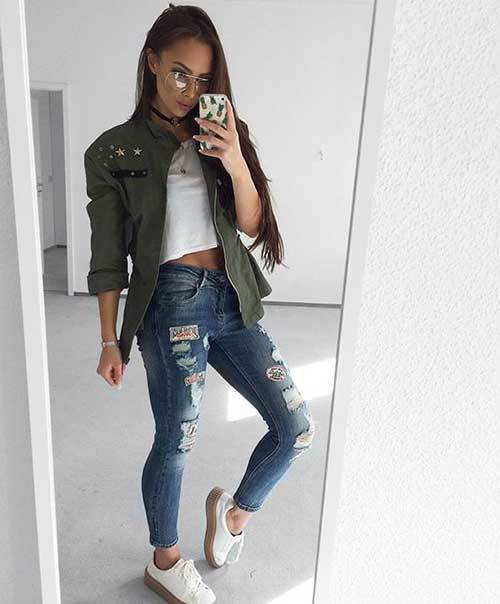 Denim Ripped Jeans Green Jacket Outfit