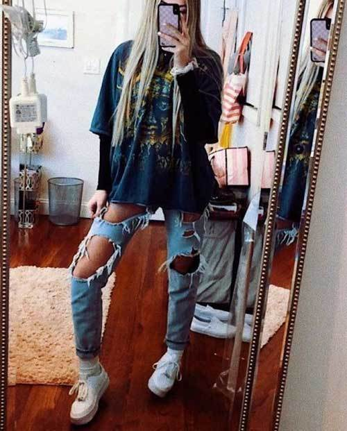Denim Ripped Jeans Spring Outfit