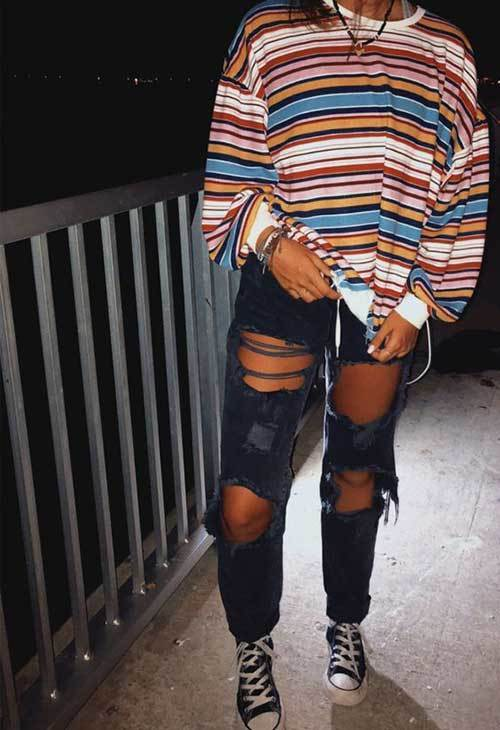 Denim Ripped Jeans Striped T-Shirt Outfit
