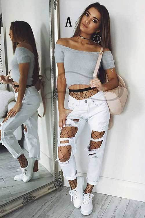 Denim Ripped Jeans off Shoulder Top Outfit