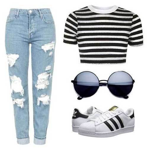Denim Ripped Mom Jean Outfit