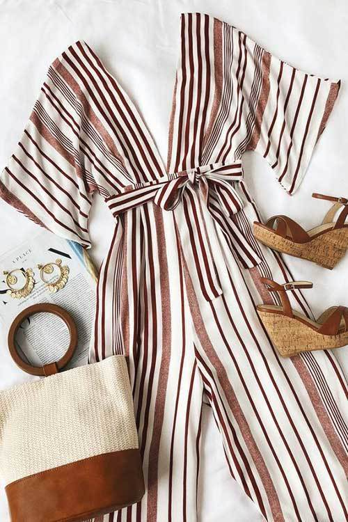 Striped Jumpsuit Outfit Ideas
