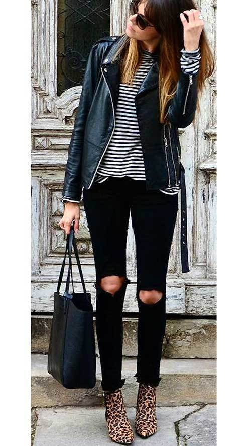 Stripes Ripped Denim Outfit Ideas
