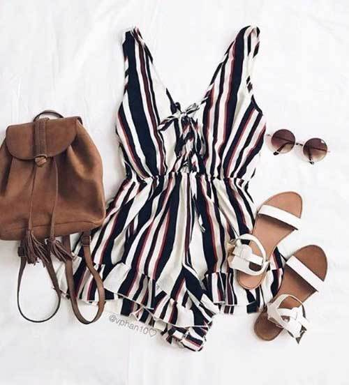 Stripes Rompers Outfit Ideas