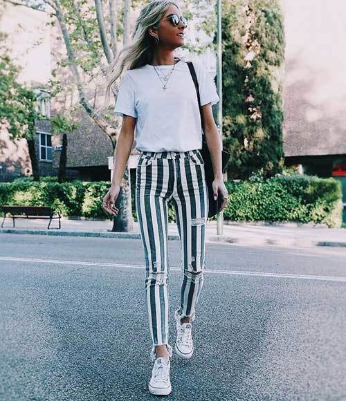 Stripes Skinny Jeans Outfit Ideas