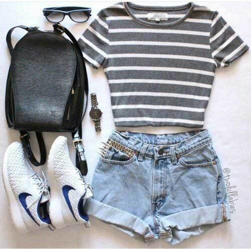 Stripes T-Shirt Outfit Ideas