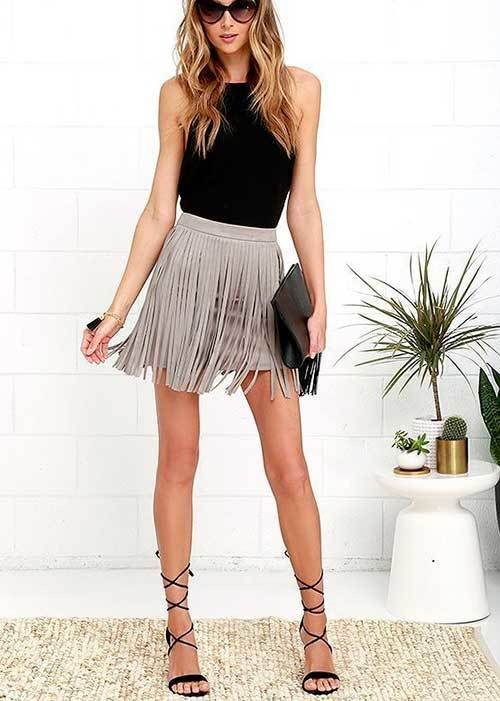 Summer Night Out Fringe Mini Skirt Outfits