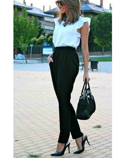 Summer Office High Waisted Pants Outfit Ideas