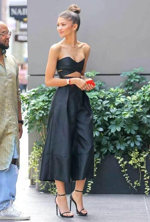 Zendaya Maxi Dress with Crop Top Outfits 2019