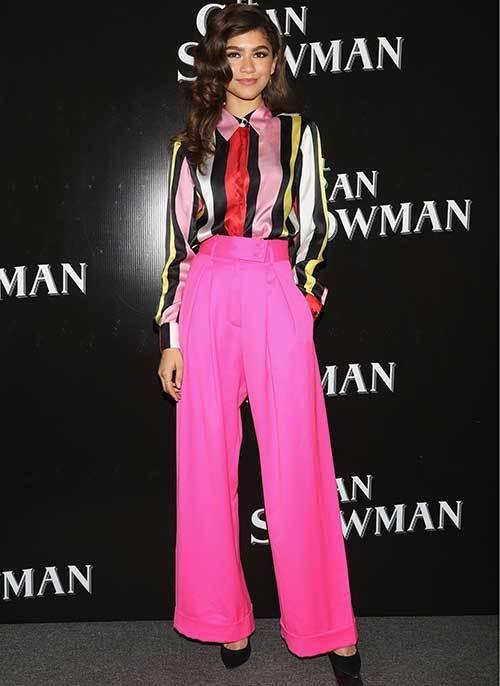 Zendaya Pink Wide Legged Pants Outfits 2019