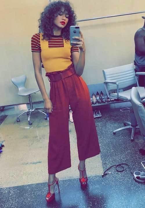 Zendaya Wide Legged Pants Outfits 2019