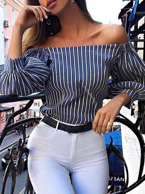 off Shoulder Stripes Outfit Ideas