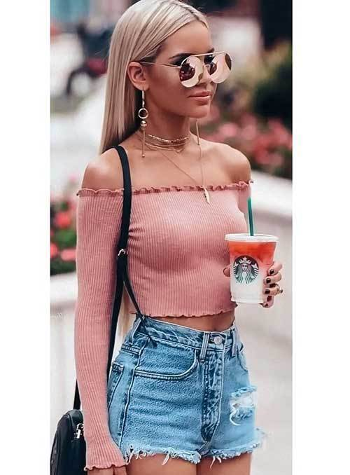 off Shoulder Top and High Waisted Shorts Outfit Ideas