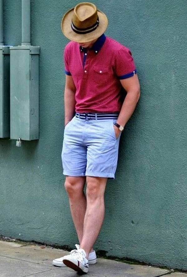 Blue Shorts Beach Outfit Ideas for Men-12