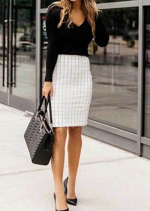 Easy Skirt Outfits for office-12