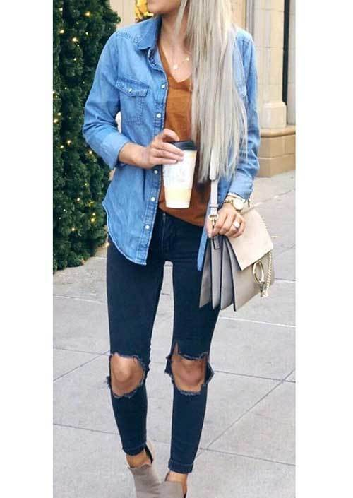 Blue Denim Jean Shirt Women-13