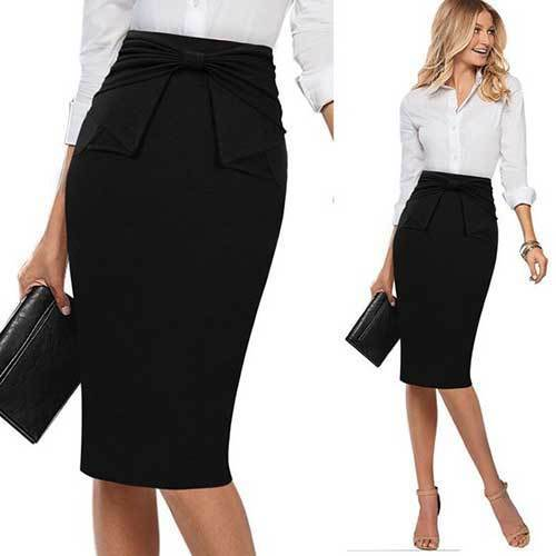 Casual Skirt Outfits for office-15