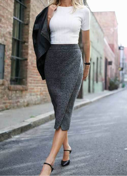 Grey Skirt Outfits for office-18