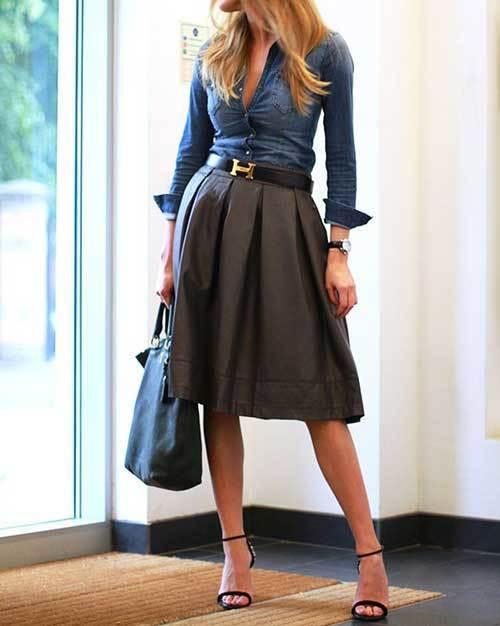 Office Denim Jean Shirt Women-18