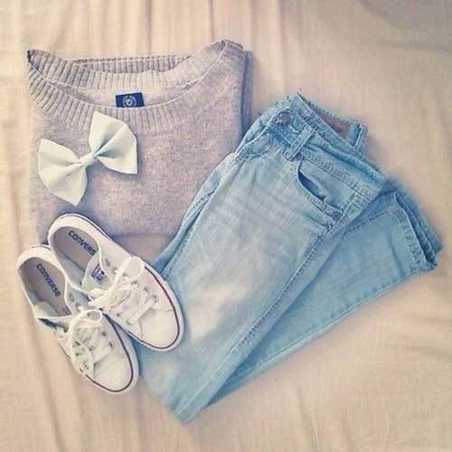 Sporty White Converse Outfits for School-18