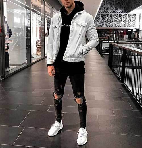 Simple Street Style Ripped Jeans Outfits for Men-18