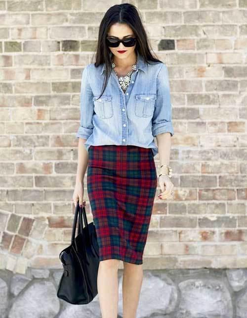 Light Blue Denim Jean Shirt Women-19