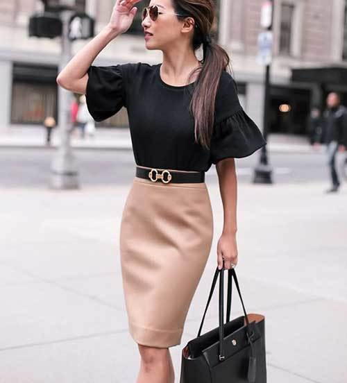 Skirt and Belt Outfits for office-19