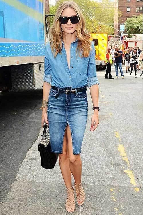 Skirt and Denim Jean Shirt Women-20