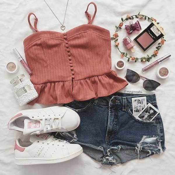 Summer Cute Top Outfit Combinations-24