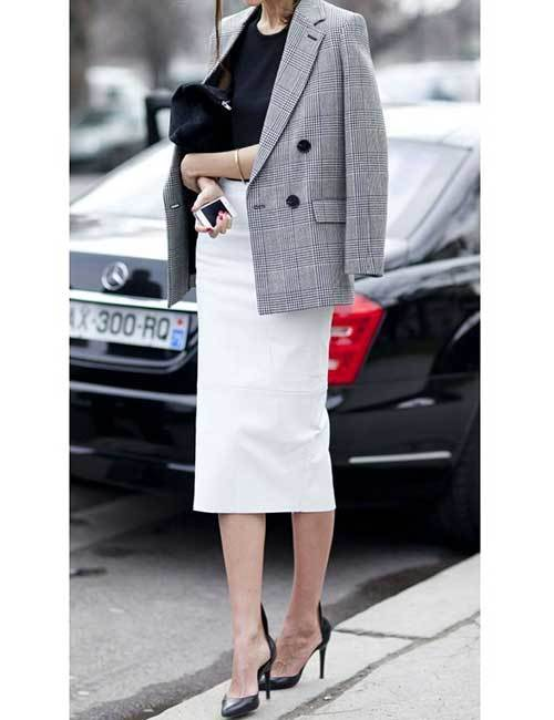 Plaid Blazer Skirt Outfits for office-7
