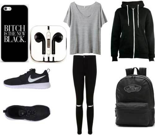 Sporty Ripped Black Jean Outfits for School-8