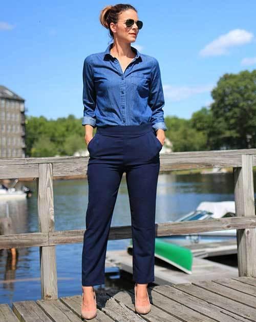 High-Waisted Pants Denim Jean Shirt Women-9