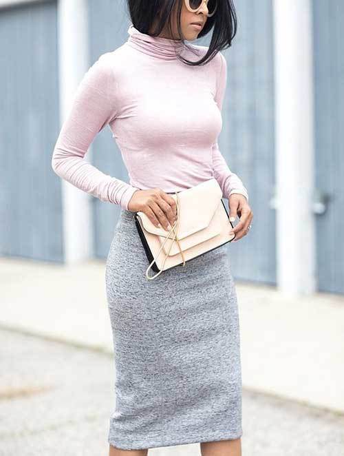 Sweater and Skirt Outfits for office-9