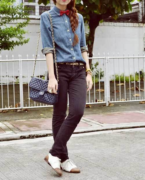 Denim Jean Shirt Women