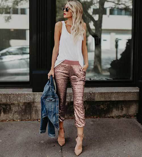 Sequins Jogger Pants Outfit Ideas-10