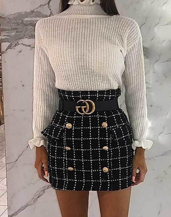 Winter High Waist Skirt Outfits-11