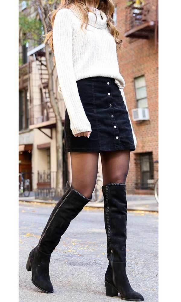 Winter Black Denim Skirt Outfits-13
