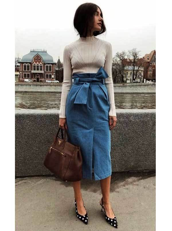 Midi Skirt Work Outfit Ideas-14