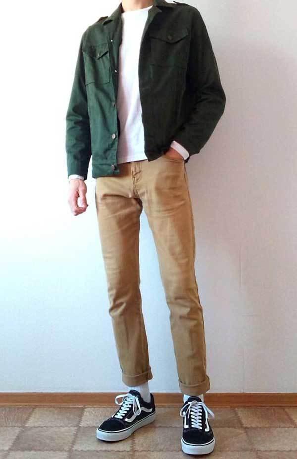 Men Vans Old Skool Minimal Outfits-15