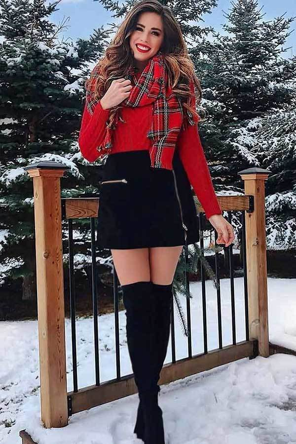 Cute Winter Skirt Outfits-16