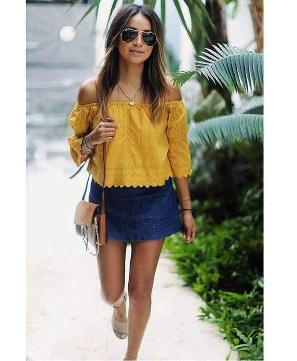 Summer Skirt Outfits for Women-16