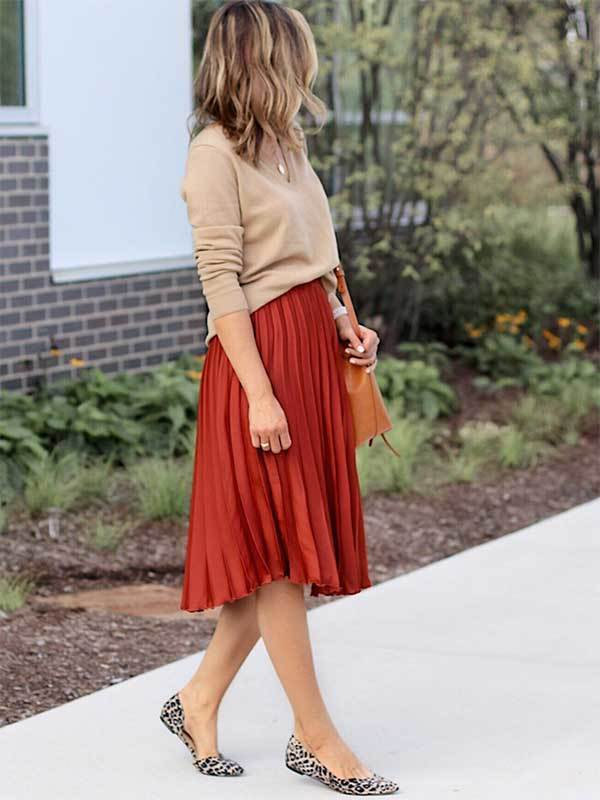 Fall Colors Midi Skirt Outfit Ideas-17