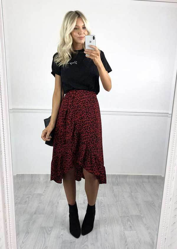 Cool Midi Skirt Outfit Ideas-18
